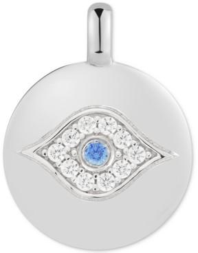 "CHARMBAR Swarovski Zirconia Evil Eye ""Eye Got your Back"" Reversible Charm Pendant in Sterling Silver"