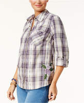 Style&Co. Style & Co Cotton Embroidered Plaid Shirt, Created for Macy's