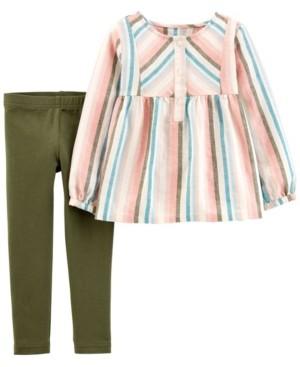 Carter's Toddler Girl 2-Piece Striped Linen Top & Legging Set