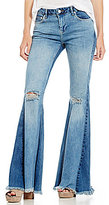 Free People Colorblock Flare Jeans