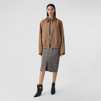Burberry Check Wool Pencil Skirt