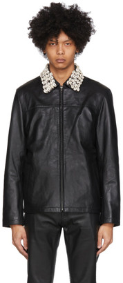 Eastwood Danso SSENSE Exclusive Black Leather Cowrie Shell Jacket