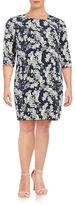 Junarose Elwa Three-Quarter-Sleeve Floral-Print Shift Dress