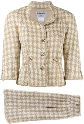 Chanel Pre Owned Tweed Jacket And Skirt Suit