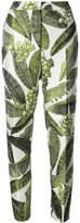 Oscar de la Renta leaf print trousers