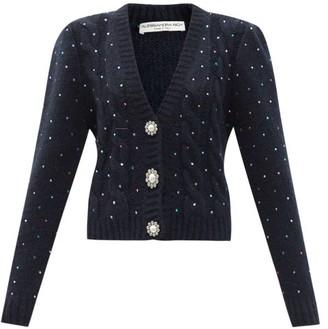 Alessandra Rich Crystal-embellished Alpaca-blend Cardigan - Navy