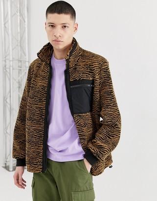 ASOS DESIGN teddy zip through jacket in zebra