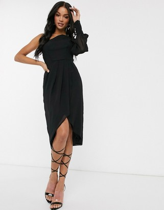 TFNC chiffon one shoulder midi dress