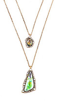 Don't Ask Don't AsK Women's Necklaces Multi - Goldtone & Green Two-Layer Fashion Pendant Necklace