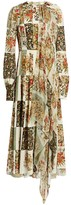 Oscar de la Renta Patchwork Floral Silk Georgette Dress