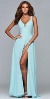 Faviana Lace Applique Chiffon Evening Dress