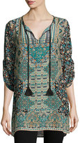 Tolani Sasha Printed Long Tunic, Black