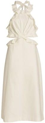 Zimmermann Lovestruck Cutout Tie-Back Midi Dress