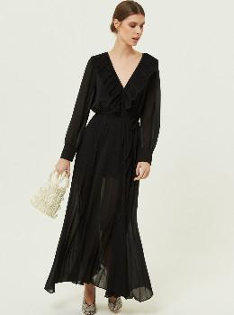 Jovonna London Kelissa Ruffle Trim Plunge Maxi Dress Black - XS