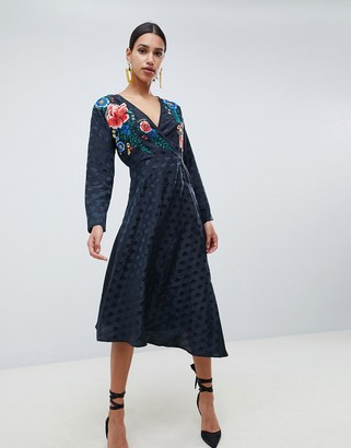 Asos Design DESIGN jacquard wrap midi dress with long sleeves and embroidery-Black