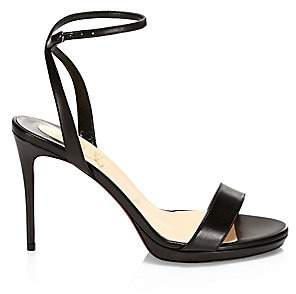 Christian Louboutin Women's Loubi Queen Leather Ankle-Strap Sandals