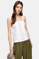 Topshop Womens Ivory Broderie Insert Cami - Ivory