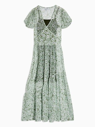 Topshop Daisy Mesh Midi Dress - Green