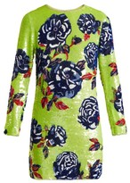 Ashish Neon Rose Embellished Silk-georgette Mini Dress - Womens - Green Multi