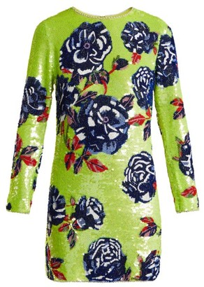 Ashish Neon Rose Embellished Silk-georgette Mini Dress - Green Multi
