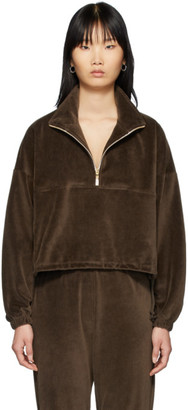 Gil Rodriguez SSENSE Exclusive Brown Velour Diana Half-Zip Sweatshirt