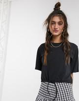 Monki crop top t-shirt with drawstring hem in black