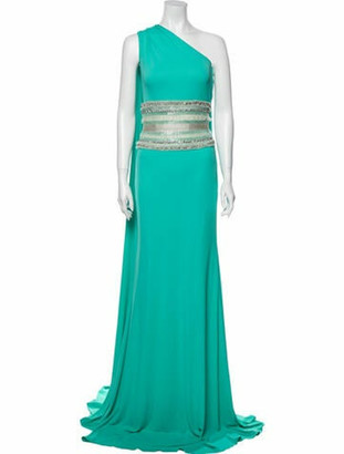 Naeem Khan One-Shoulder Long Dress Blue