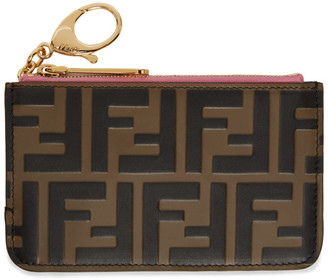 Fendi Pink and Brown Forever Key Case Card Holder