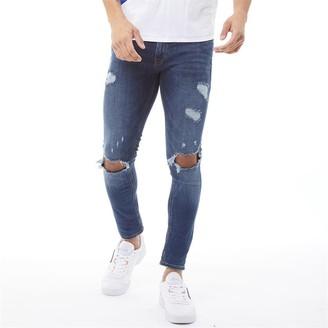 Jack and Jones Mens Tom Original AM 849 Skinny Jeans Blue Denim
