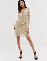 French Connection vneck knotted sequin mini dress