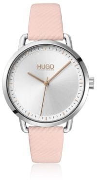 HUGO BOSS Stainless-steel watch with embossed strap in pink leather