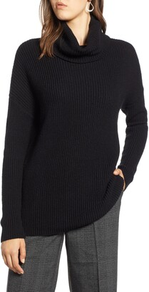 Halogen Oversized Turtleneck Tunic Sweater