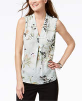 Nine West Pleated Floral-Print Top