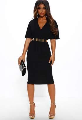 Pink Boutique Work It Girl Black Pleat Detail Midi Dress