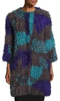 Armani Collezioni Colorblock Mongolian Lamb Fur Caban Coat, Multicolor