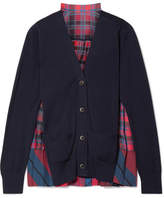 Sacai Cotton And Pleated Checked Satin Cardigan - Midnight blue