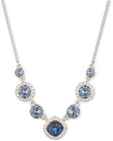 Givenchy Silver-Tone Blue Crystal Pav�� Collar Necklace