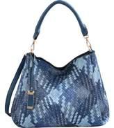 Mellow World Women's Brianna Lattice Hobo Handbag - Blue Faux Leather Hobo Handbags