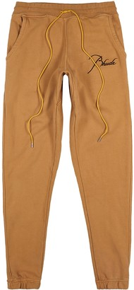 Rhude Brown logo-embroidered cotton sweatpants