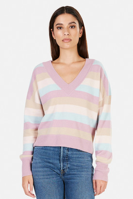 Naadam Striped Cashmere V Neck Sweater