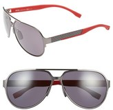 BOSS Men's 63Mm Polarized Aviator Sunglasses - Brushed Ruthenium/ Grey
