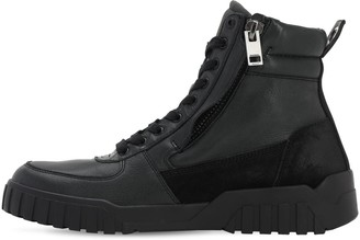 Diesel Leather & Suede High Top Zip Sneakers