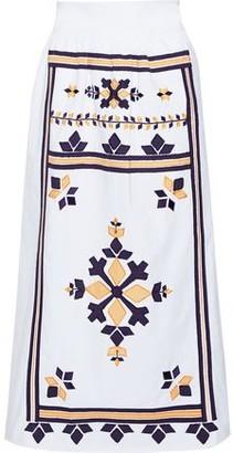 Antik Batik Anika Embroidered Cotton-poplin Midi Skirt