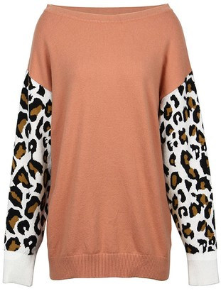 Goodnight Macaroon 'Michaela' Leopard Sleeve Sweater (4 Colors)