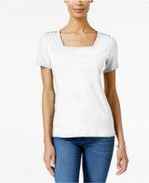 Karen Scott Square-Neck T-Shirt, Created for Macy's