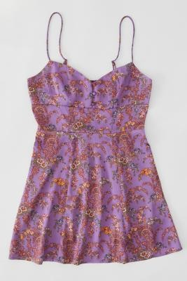 Urban Outfitters Petra Pink Floral Satin Mini Dress - Pink S at