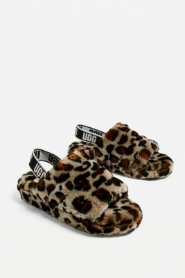 UGG Fluff Yeah Leopard Print Slide Slippers - Brown UK 6 at Urban Outfitters
