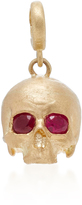 Luis Morais Medium Skull Charm with No Jaw with Moveable Jaw and Gemfields Ruby Eyes