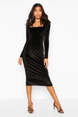 boohoo Tall Velvet Bodycon Midi Dress