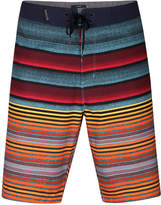 Hurley Men's Phantom Blackball Orange Street Variegated-Stripe Boardshorts